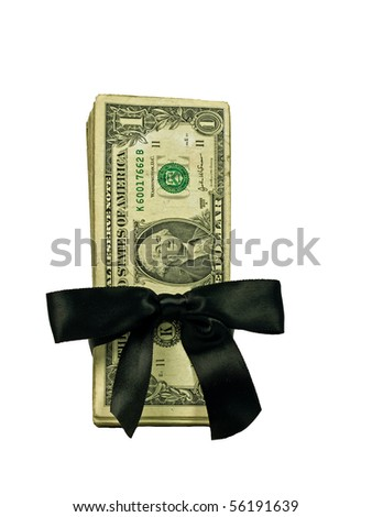 Money Bundle in a Black Ribbon $1 Bills