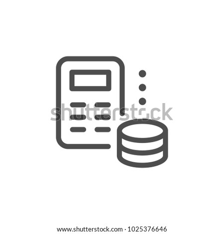 Money calculation line icon isolated on white