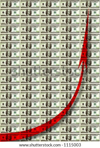 money chart background with red arrow