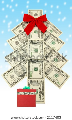 Money Christmas tree and snow, business concept