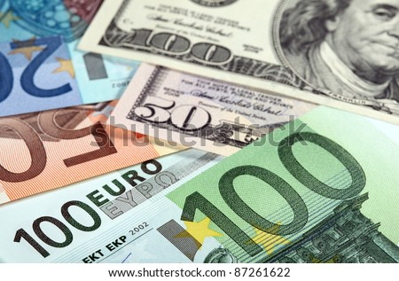 Money: close-up of euro and dollar banknotes