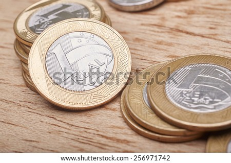 Money coins Brazilian in wooden table #256971742