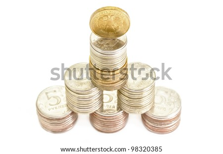 Money Coins financial pyramid building