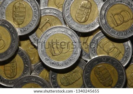 Money Coins Hungarian Forint Stock fotó ©