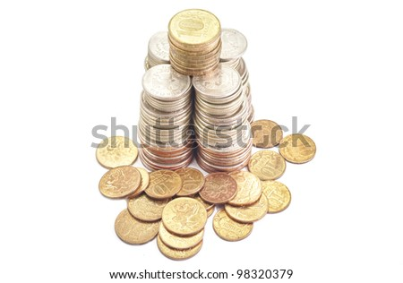Money Coins metal in stack roubles on white background