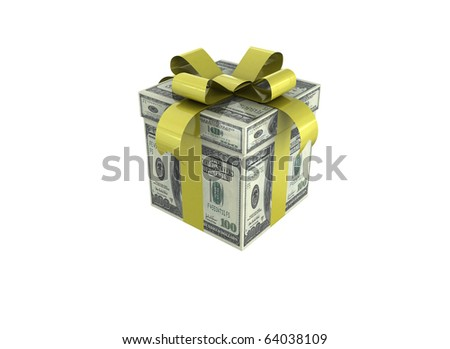 Money concept dollars in the form of a gift box.
