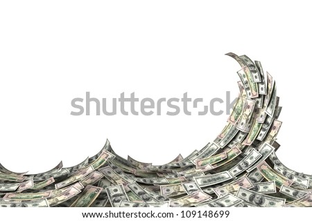 Money concept showing a wave of US dollar bills. Shallow depth of field.