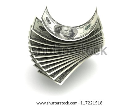 Money concept with dollar (isolated with clipping path)