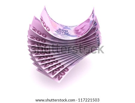 Money concept with Turkish Lira (isolated with clipping path)