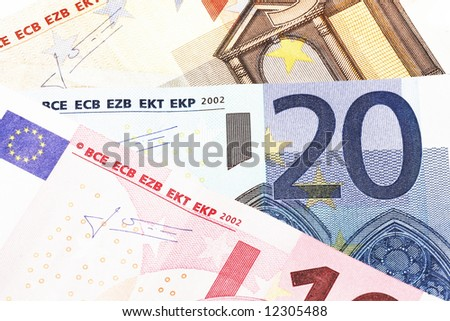 Money - Details Of 10, 20 And 50 Euro Notes, Laid Out As Fan