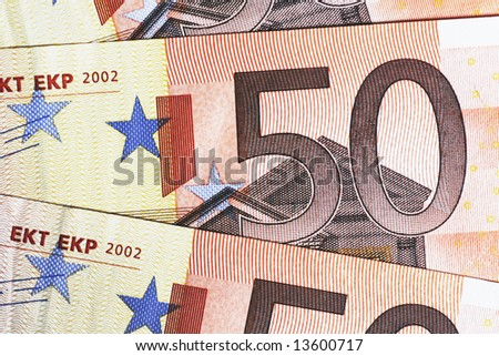 Money - Details Of 50 Euro Notes Laid Out As Fan