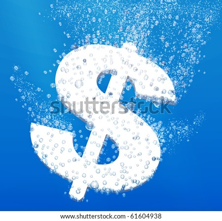 Money devaluation concept: dollar sign dissolving underwater