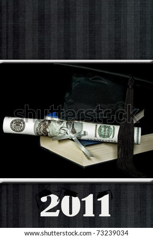 money diploma with grad cap for 2011