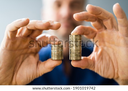 Money Disparity And Pay Gap. Comparing Tax And Salary Photo stock ©