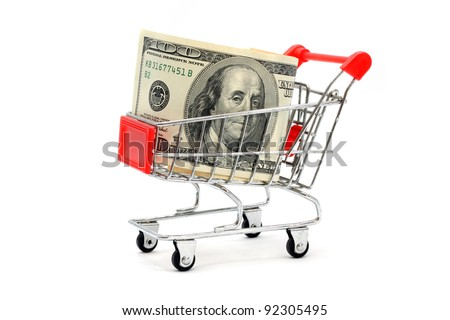 Money Dollar Cash Banknote in Trolley Shopping Cart on White Background