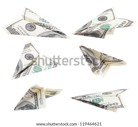 money dollars airplane fly on isolated white background / work path