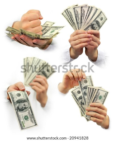 money dollars in the hands isolated on white background