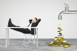 Money dripping concept with faucet and businessman resting on a chair