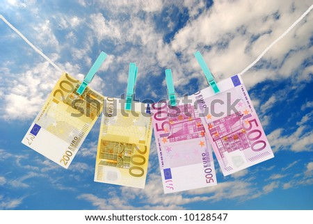 Money drying on the clothesline