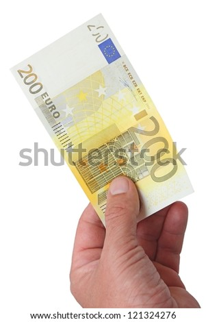 Money 200 Euro banknote in her hand. The image is isolated on a white background.
