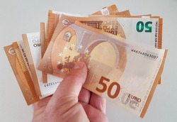 money euro euros banknotes fifty 50 for background economy buy sell salary income saving pensions