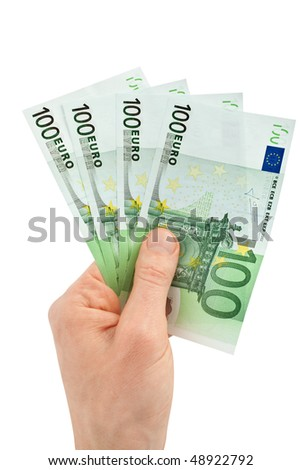 Money (Euro) in a hand isolated on white