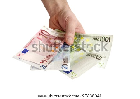Money euro in man hand