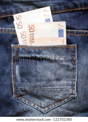 money euro in the blue jeans pocket