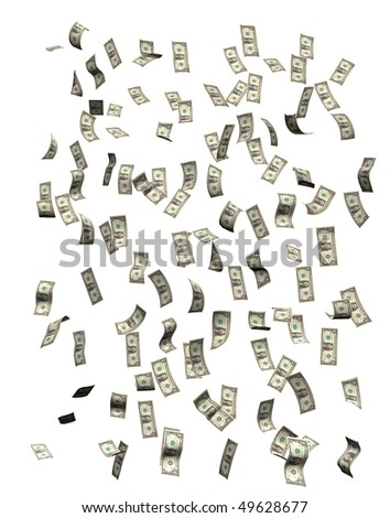 Money falling, isolated on white background