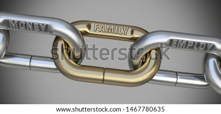 Money, family and employ, the basis of success. Inseparable chain links. 3D Illustration.