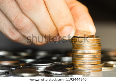 Money, Financial, Business, stock of coin close up hand put coin on stack