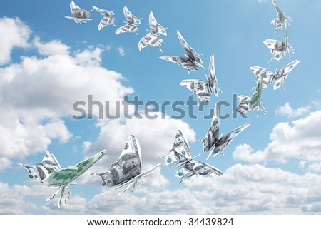 Money fly away like a butterfly