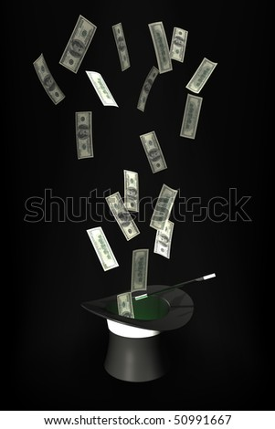 Money flying out of a magic hat