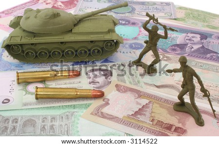Money From Iraq with Bullets and Plastic Soldiers - stock photo