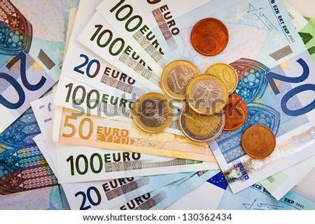 money from wallet, salary in euro
