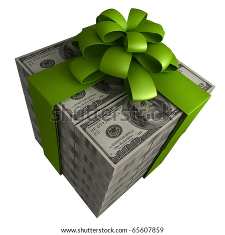 Money gift box with green ribbon isolated on a white background 3d