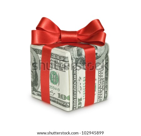 Money gift box with red ribbon, one hundred dollar bill, isolated on a white background - stock photo