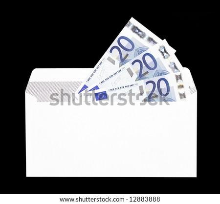 Money Gift, White Envelope With Twenty Euro Notes