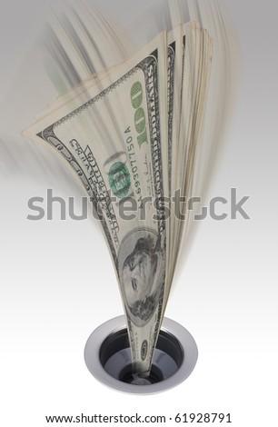 Money going down the kitchen drain.