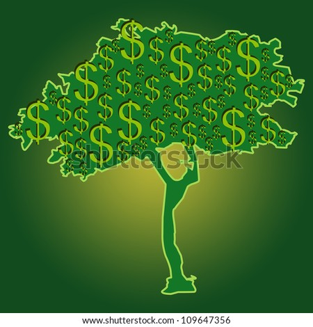 Money Growing on Tree for Business Concept