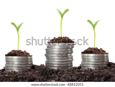 Money growth. Silver coins in soil with young plant. Financial metaphor.