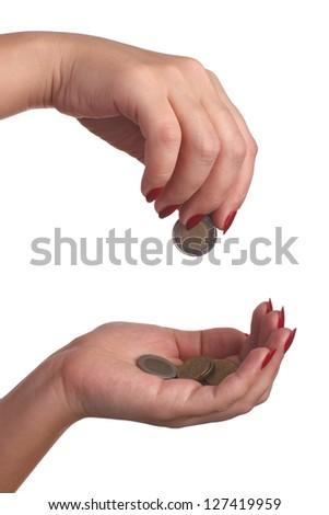 money hands isolated on white background - stock photo