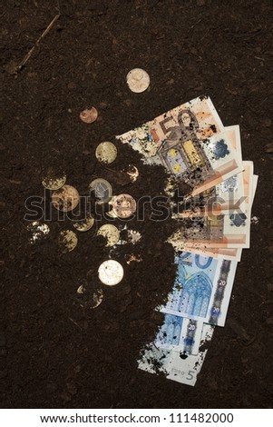 money hidden hide dirt euro garden - stock photo