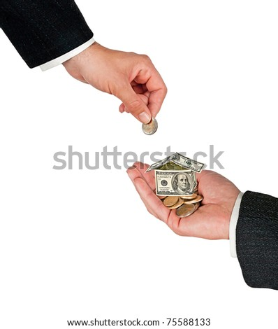 Money home in hand isolated on white background