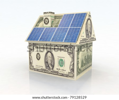 money home with solar panel concept financing