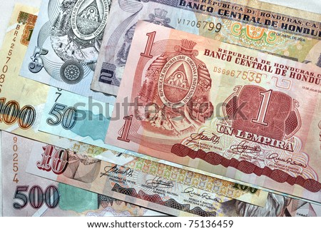 money honduran lempira notes pile of different denominations, honduras, central america. full frame close up macro foreign currency exotic tropical latina country banknote