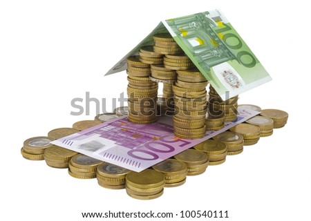 money house with coin isolated over white background
