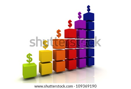 Money Icon Color Graph Block