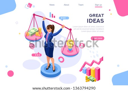 Money idea compare layout. Hold conceptual bulb on gold balance concept, can use for web banner, infographics, hero images. Flat isometric illustrations isolated on white background