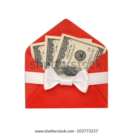 Money in a bright red envelope, with white ribbon bow isolated on white background.